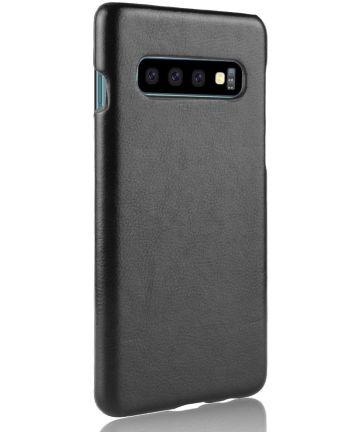 Samsung Galaxy S10 Hoesje met Kunstleer Coating Zwart Hoesjes