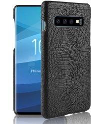 Samsung Galaxy S10 Kunstleren Hoesje met Krokodil Textuur Zwart