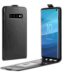 Samsung Galaxy S10 Flip Hoesje Verticaal Zwart