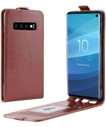Samsung Galaxy S10 Flip Hoesje Verticaal Bruin