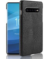 Samsung Galaxy S10 Plus Hoesje met Krokodil Textuur Zwart