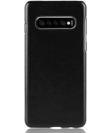 Samsung Galaxy S10 Plus Hoesje met Kunstleer Coating Zwart Hoesjes