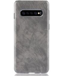 Samsung Galaxy S10 Plus Hoesje met Kunstleer Coating Grijs