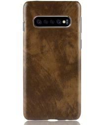 Samsung Galaxy S10 Plus Hoesje met Kunstleer Coating Bruin