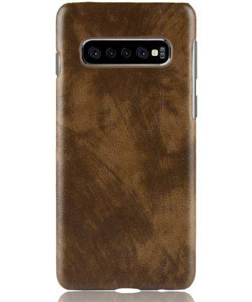 Samsung Galaxy S10 Plus Hoesje met Kunstleer Coating Bruin Hoesjes