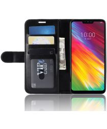 LG G7 Fit Portemonnee Hoesje met Standaard Zwart