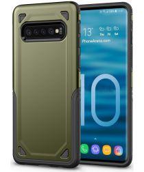 Samsung Galaxy S10 Stijlvol Hybride Hoesje Groen