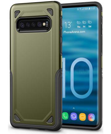 Samsung Galaxy S10 Stijlvol Hybride Hoesje Groen Hoesjes