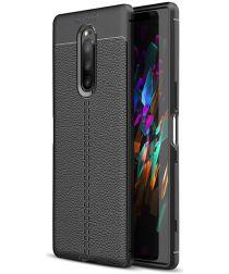 Sony Xperia 1 Hoesje TPU Met Leren Textuur Zwart