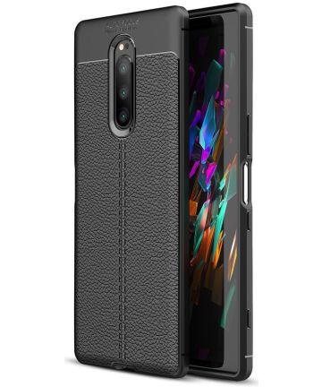 Sony Xperia 1 Hoesje TPU Met Leren Textuur Zwart Hoesjes