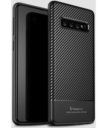 Samsung Galaxy S10 Carbon TPU Hoesje Zwart Hoesjes