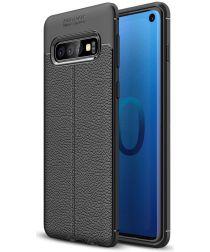 Samsung Galaxy S10 TPU Hoesje met Leren Textuur Zwart