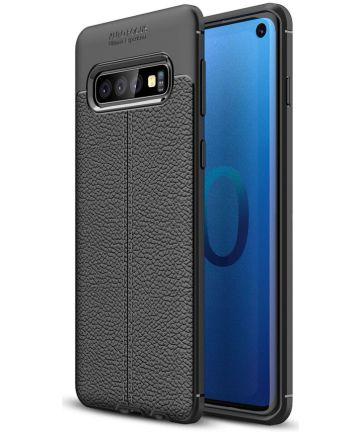 Samsung Galaxy S10 TPU Hoesje met Leren Textuur Zwart Hoesjes