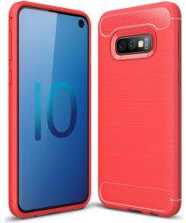 Samsung Galaxy S10E Geborsteld TPU Hoesje Rood