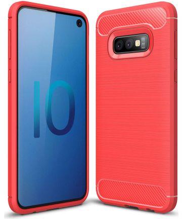 Samsung Galaxy S10E Geborsteld TPU Hoesje Rood Hoesjes