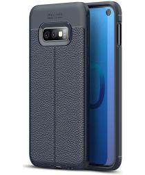 Samsung Galaxy S10E TPU Hoesje met Leren Textuur Coating Blauw
