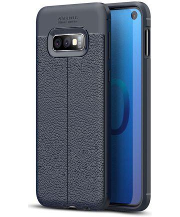 Samsung Galaxy S10E TPU Hoesje met Leren Textuur Coating Blauw Hoesjes