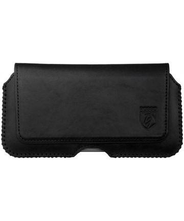 Rosso Deluxe Belt Case Hoesje Met Riemlus Echt Leer Zwart Hoesjes