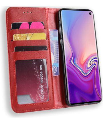 Samsung Galaxy S10E Vintage Portemonnee Hoesje Rood Hoesjes