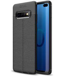 Samsung Galaxy S10 Plus Hoesje met Leren Textuur Zwart