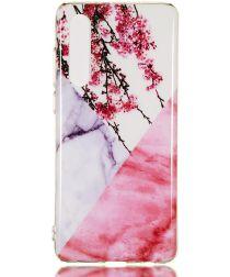 Huawei P30 TPU Hoesje met Marmer Opdruk Roze