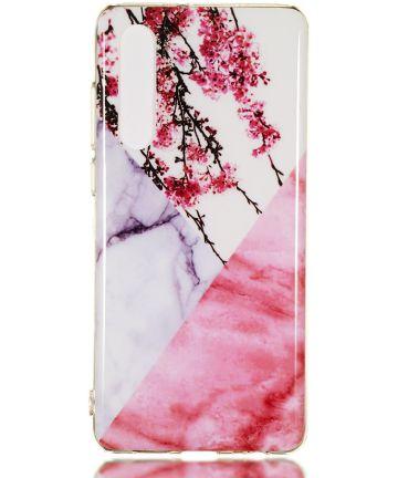 Huawei P30 TPU Hoesje met Marmer Opdruk Roze Hoesjes