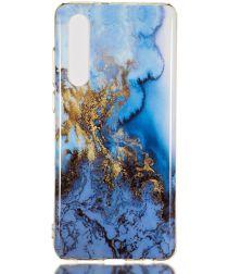 Huawei P30 TPU Hoesje met Marmer Opdruk Blauw Goud