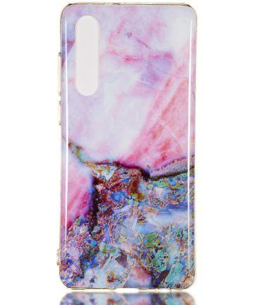 Huawei P30 TPU Hoesje met Marmer Opdruk Blauw Roze Hoesjes