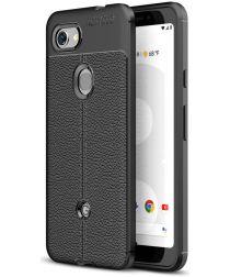 Google Pixel 3A Hoesje met Leren Textuur Zwart