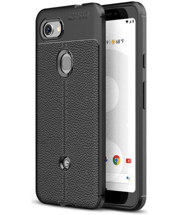 Google Pixel 3A Hoesje met Leren Textuur Zwart Hoesjes