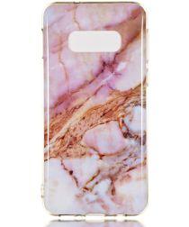 Samsung Galaxy S10E TPU Back Cover met Marmer Print Roze Goud
