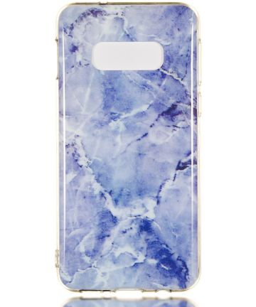 Samsung Galaxy S10E TPU Back Cover met Marmer Print Blauw Hoesjes