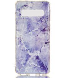 Samsung Galaxy S10 TPU Back Cover met Marmer Print Blauw