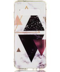 Samsung Galaxy S10 TPU Back Cover met Marmer Print Driehoeken