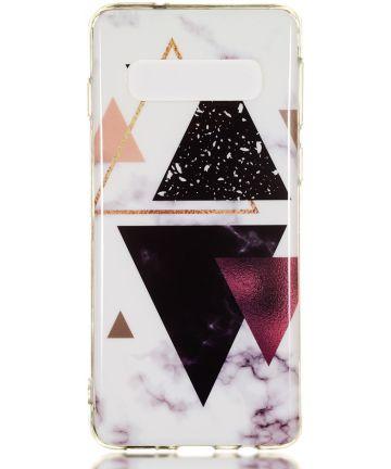 Samsung Galaxy S10 TPU Back Cover met Marmer Print Driehoeken Hoesjes