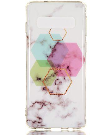 Samsung Galaxy S10 TPU Back Cover met Marmer Print Hexagon Hoesjes