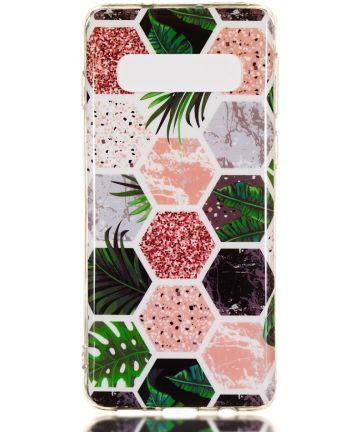 Samsung Galaxy S10 TPU Back Cover met Marmer Print Hexagonnen Hoesjes