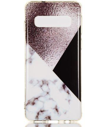 Samsung Galaxy S10 TPU Back Cover met Marmer Print Bruin Hoesjes