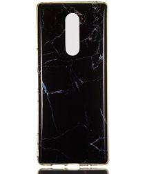 Sony Xperia 1 TPU Back Cover met Marmer Print Zwart