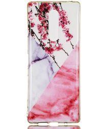 Sony Xperia 1 TPU Back Cover met Marmer Print Blossom