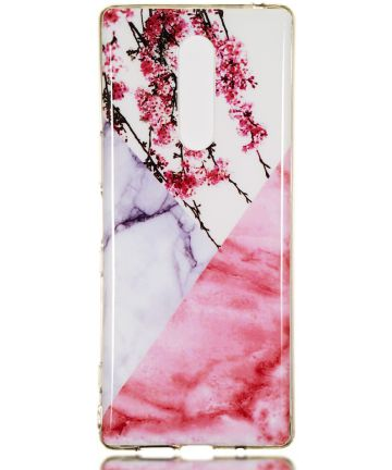 Sony Xperia 1 TPU Back Cover met Marmer Print Blossom Hoesjes