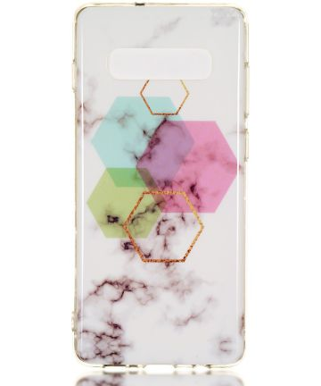 Samsung Galaxy S10 Plus TPU Back Cover met Marmer Print Hexagonnen Hoesjes