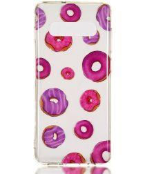 Samsung Galaxy S10 Plus Transparant TPU Hoesje met Donuts Print