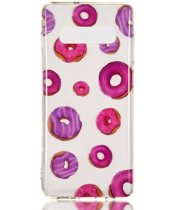 Samsung Galaxy S10 Plus Transparant TPU Hoesje met Donuts Print Hoesjes