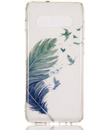 Samsung Galaxy S10 Plus Transparant TPU Hoesje met Veer Print Hoesjes
