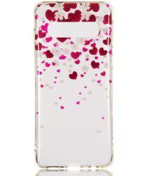 Samsung Galaxy S10 Transparant TPU Hoesje met Hart Print