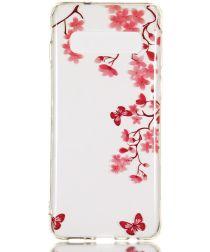 Samsung Galaxy S10 Transparant TPU Hoesje met Rode Bloemen Print