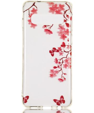 Samsung Galaxy S10 Transparant TPU Hoesje met Rode Bloemen Print Hoesjes
