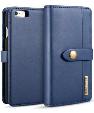 Apple iPhone 6s Plus Leren 2-in-1 Bookcase en Back Cover Hoesje Blauw Hoesjes