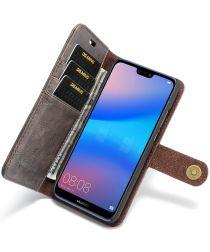 Huawei P20 Lite Leren Portemonnee Hoesje Grijs